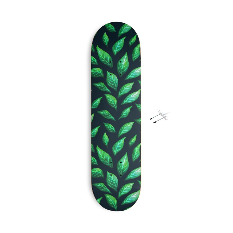 Dark Abstract Painted Green Leaves Accessories With Hanging Hardware Skateboard by Boriana's Artist Shop