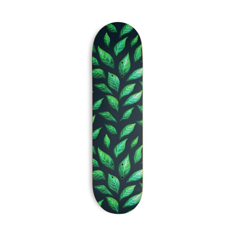 Dark Abstract Painted Green Leaves Accessories Deck Only Skateboard by Boriana's Artist Shop