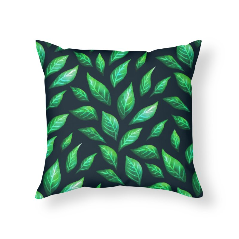 Dark Abstract Painted Green Leaves Home Throw Pillow by Boriana's Artist Shop