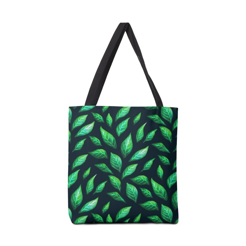 Dark Abstract Painted Green Leaves Accessories Tote Bag Bag by Boriana's Artist Shop
