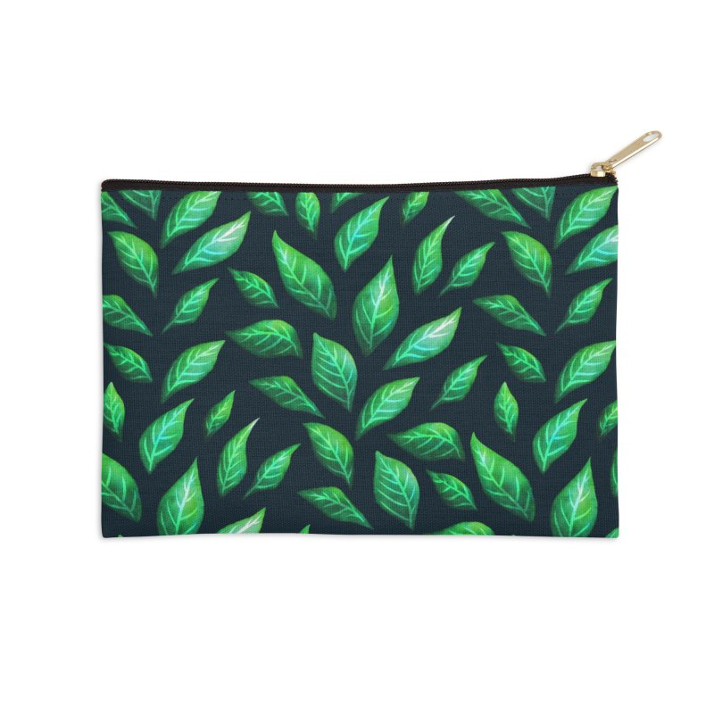 Dark Abstract Painted Green Leaves Accessories Zip Pouch by Boriana's Artist Shop