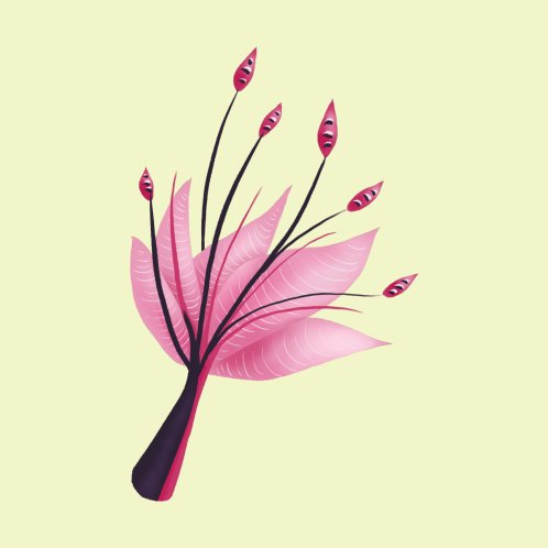 Design for Pink Abstract Water Lily Flower