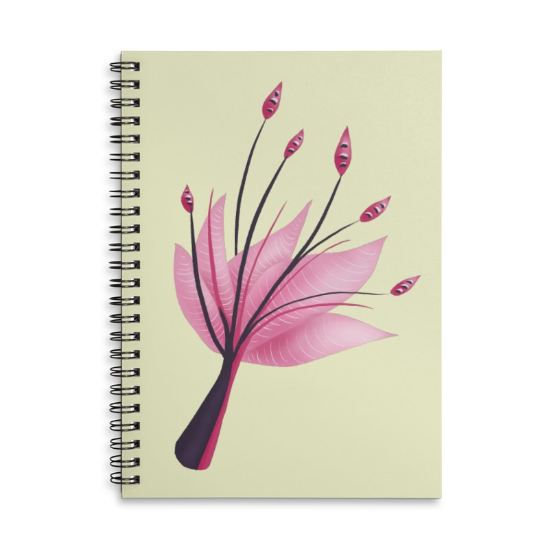 Pink Abstract Water Lily Flower Accessories Lined Spiral Notebook by Boriana's Artist Shop