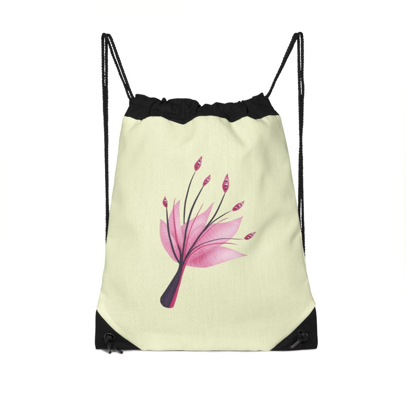 Pink Abstract Water Lily Flower Accessories Drawstring Bag Bag by Boriana's Artist Shop