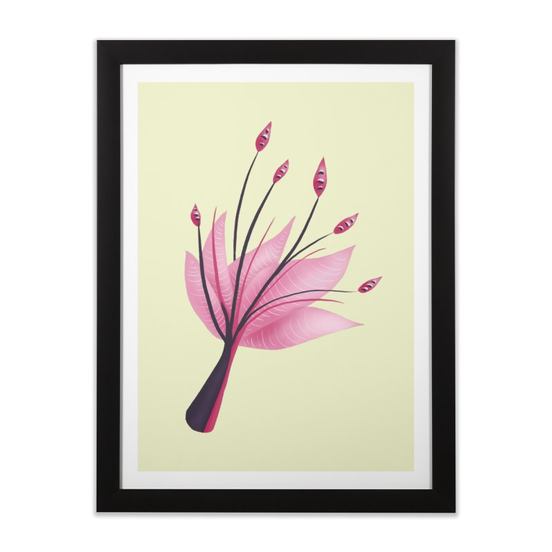 Pink Abstract Water Lily Flower Home Framed Fine Art Print by Boriana's Artist Shop