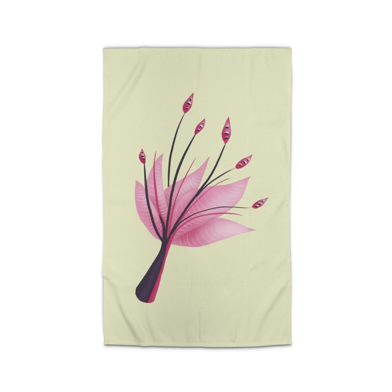 Pink Abstract Water Lily Flower Home Rug by Boriana's Artist Shop