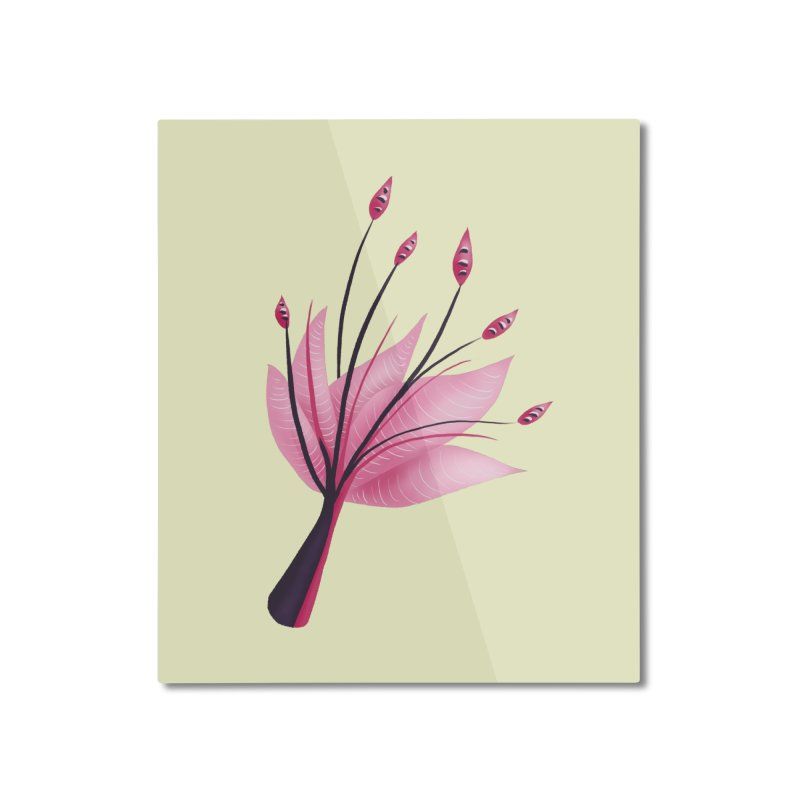 Pink Abstract Water Lily Flower Home Mounted Aluminum Print by Boriana's Artist Shop