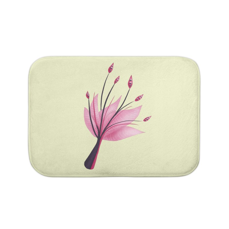 Pink Abstract Water Lily Flower Home Bath Mat by Boriana's Artist Shop