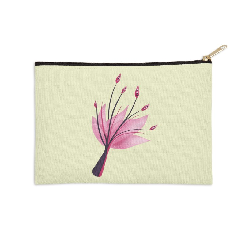 Pink Abstract Water Lily Flower Accessories Zip Pouch by Boriana's Artist Shop