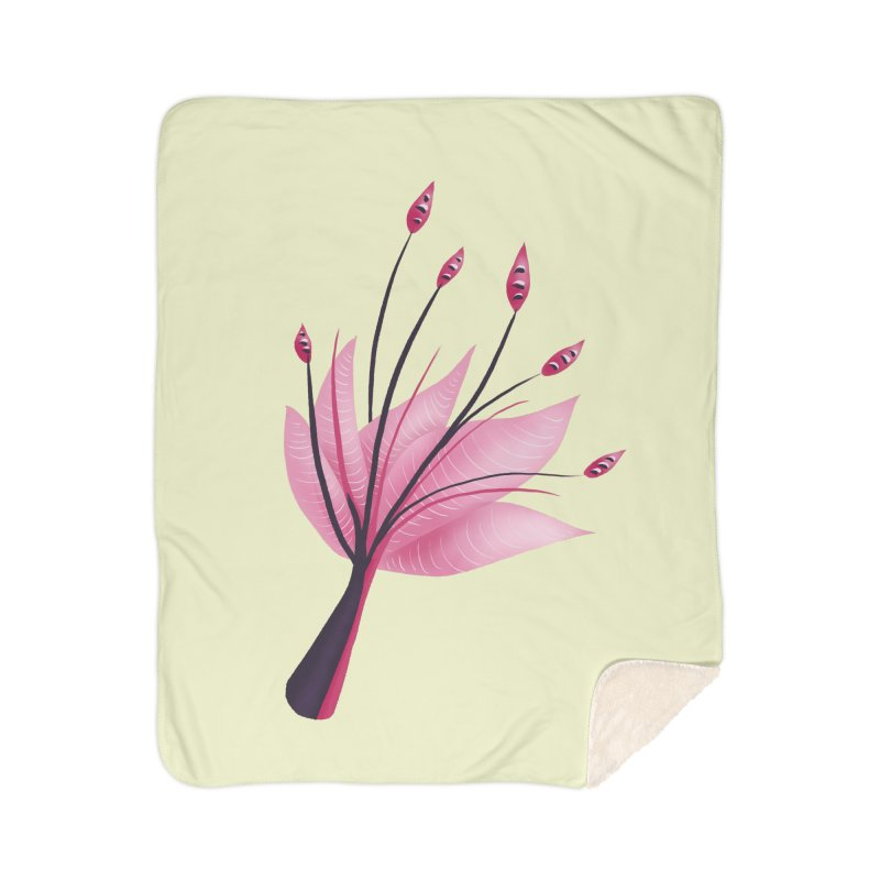 Pink Abstract Water Lily Flower Home Sherpa Blanket Blanket by Boriana's Artist Shop