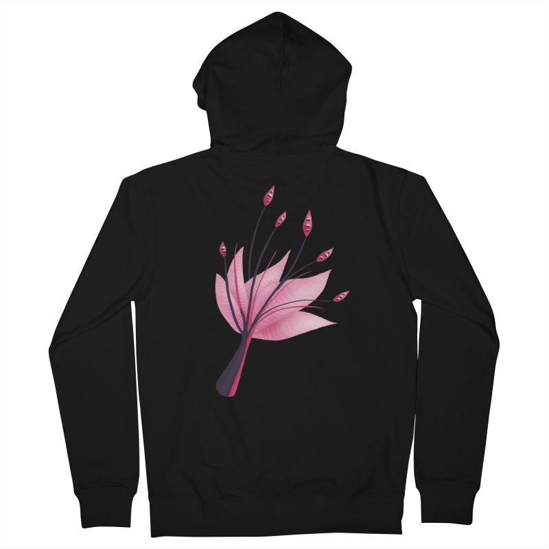 Pink Abstract Water Lily Flower Women's French Terry Zip-Up Hoody by Boriana's Artist Shop