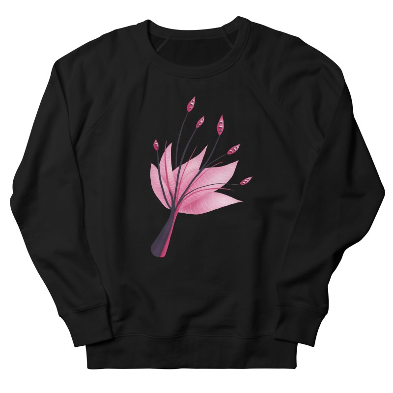 Pink Abstract Water Lily Flower Women's French Terry Sweatshirt by Boriana's Artist Shop