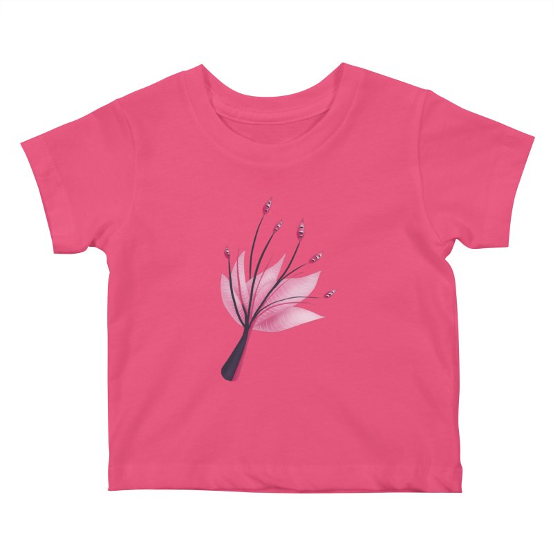 Pink Abstract Water Lily Flower Kids Baby T-Shirt by Boriana's Artist Shop