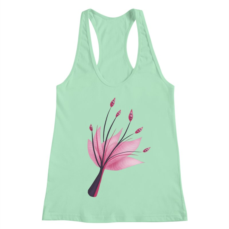 Pink Abstract Water Lily Flower Women's Racerback Tank by Boriana's Artist Shop