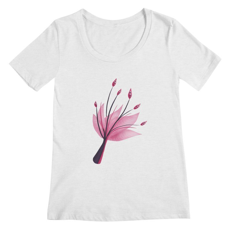 Pink Abstract Water Lily Flower Women's Regular Scoop Neck by Boriana's Artist Shop