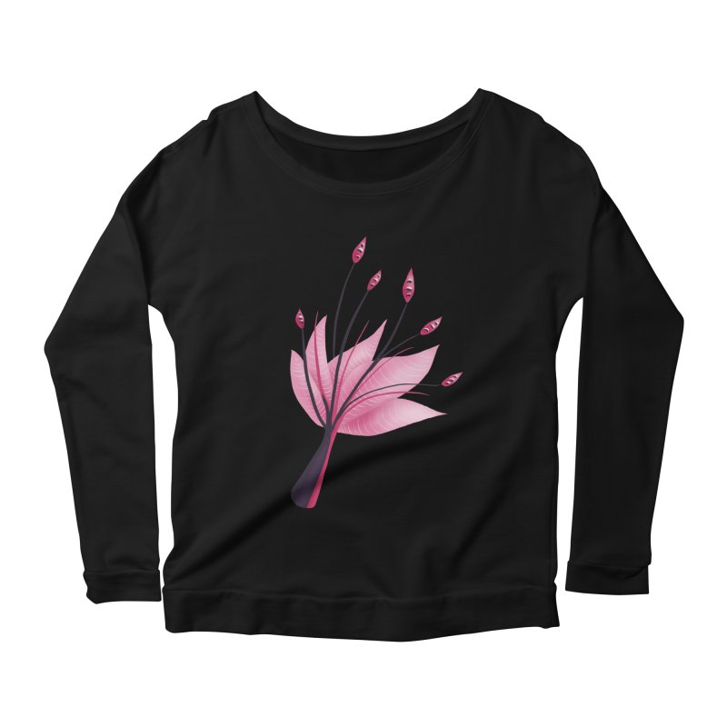 Pink Abstract Water Lily Flower Women's Scoop Neck Longsleeve T-Shirt by Boriana's Artist Shop