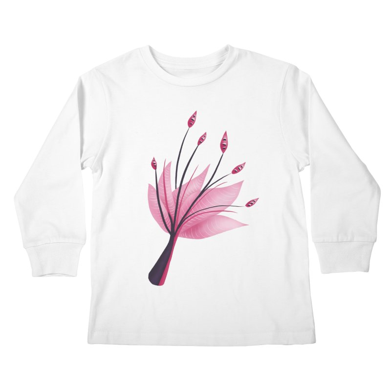 Pink Abstract Water Lily Flower Kids Longsleeve T-Shirt by Boriana's Artist Shop