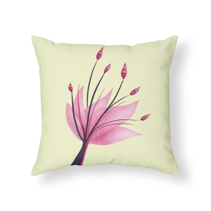 Pink Abstract Water Lily Flower Home Throw Pillow by Boriana's Artist Shop