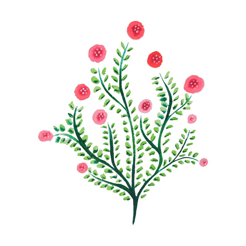 Spring Flower Plant Watercolor In Pink And Green by Boriana's Artist Shop