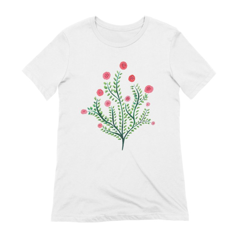 Spring Flower Plant Watercolor In Pink And Green Women's Extra Soft T-Shirt by Boriana's Artist Shop