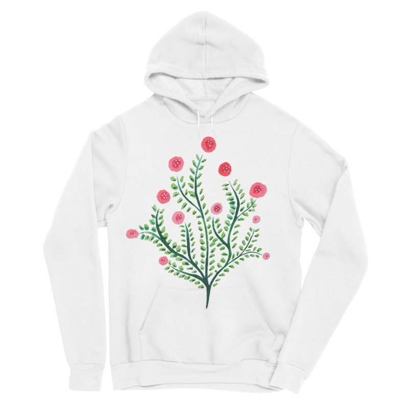 Spring Flower Plant Watercolor In Pink And Green Women's Sponge Fleece Pullover Hoody by Boriana's Artist Shop