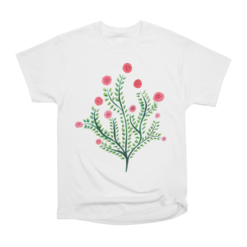 Spring Flower Plant Watercolor In Pink And Green Women's Heavyweight Unisex T-Shirt by Boriana's Artist Shop