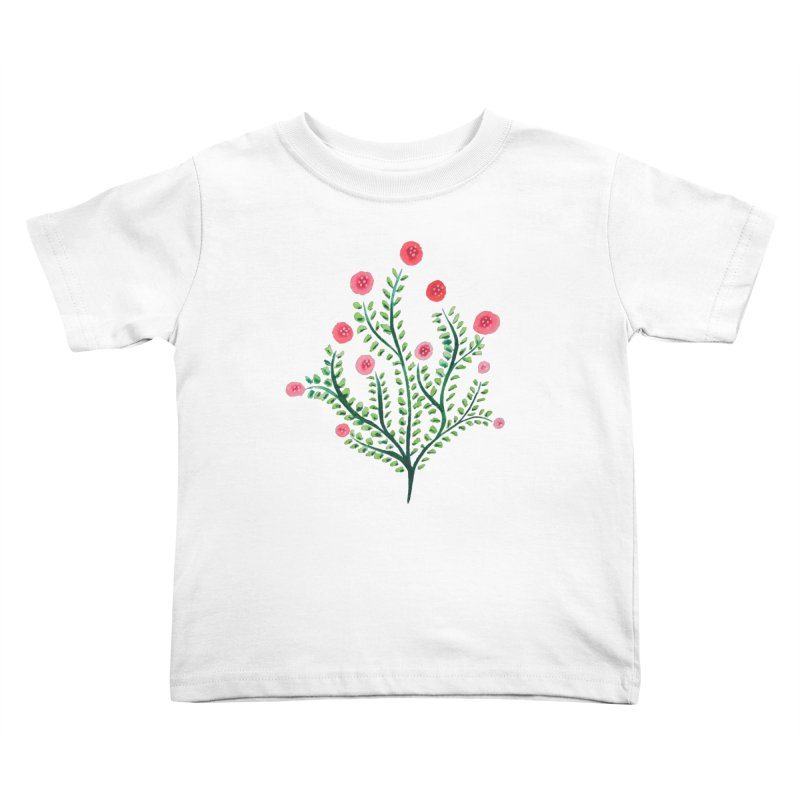 Spring Flower Plant Watercolor In Pink And Green Kids Toddler T-Shirt by Boriana's Artist Shop