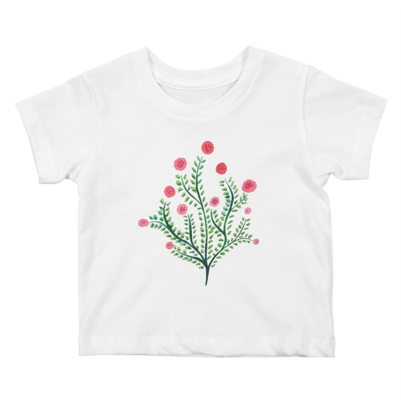 Spring Flower Plant Watercolor In Pink And Green Kids Baby T-Shirt by Boriana's Artist Shop