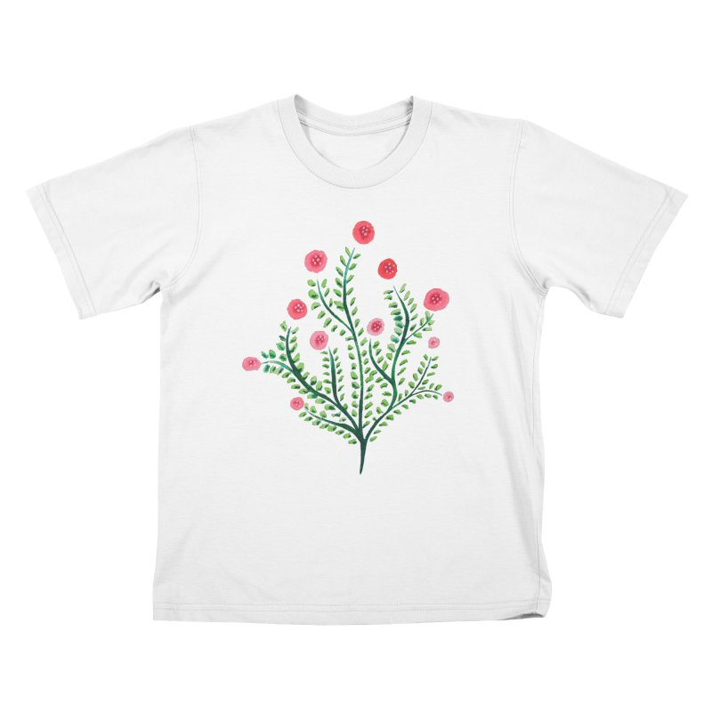Spring Flower Plant Watercolor In Pink And Green Kids T-Shirt by Boriana's Artist Shop