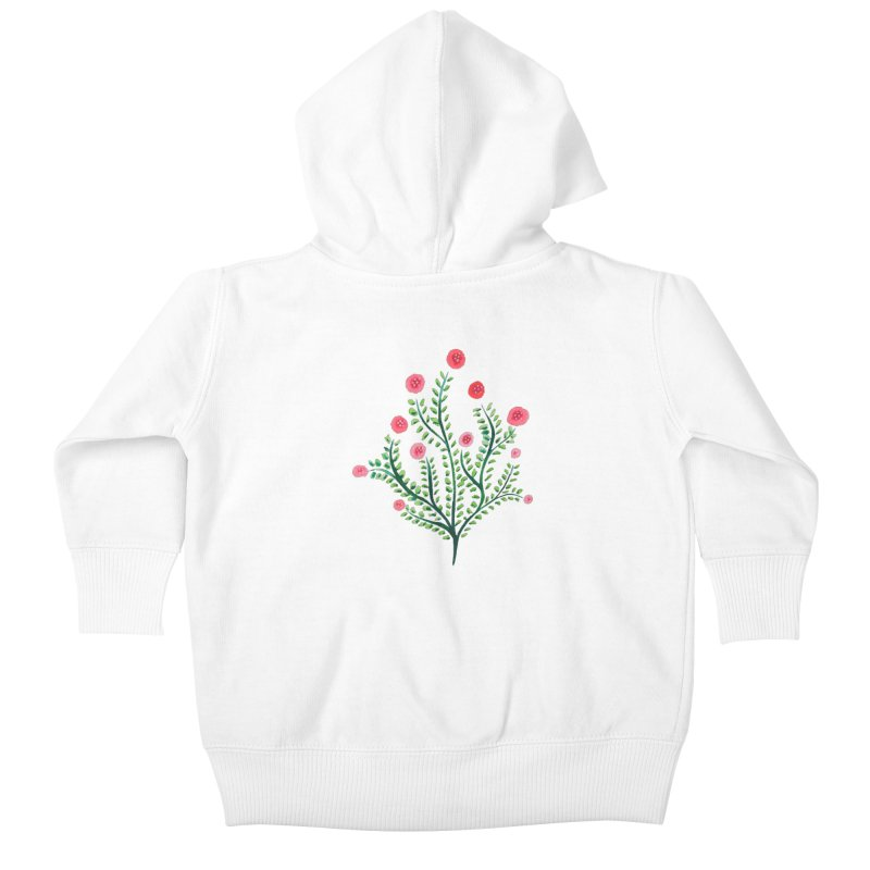 Spring Flower Plant Watercolor In Pink And Green Kids Baby Zip-Up Hoody by Boriana's Artist Shop