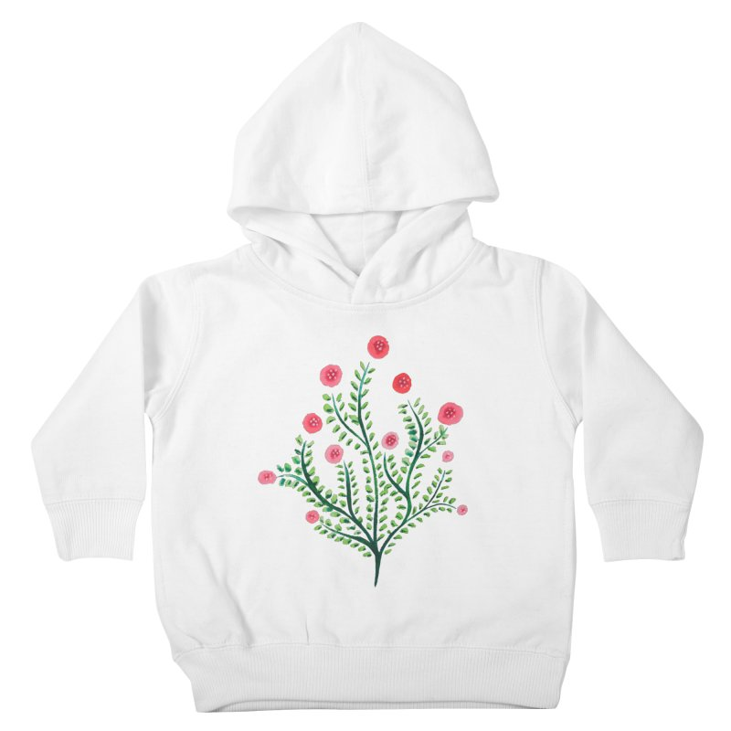 Spring Flower Plant Watercolor In Pink And Green Kids Toddler Pullover Hoody by Boriana's Artist Shop