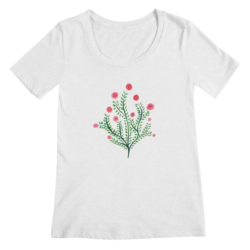 Spring Flower Plant Watercolor In Pink And Green Women's Regular Scoop Neck by Boriana's Artist Shop