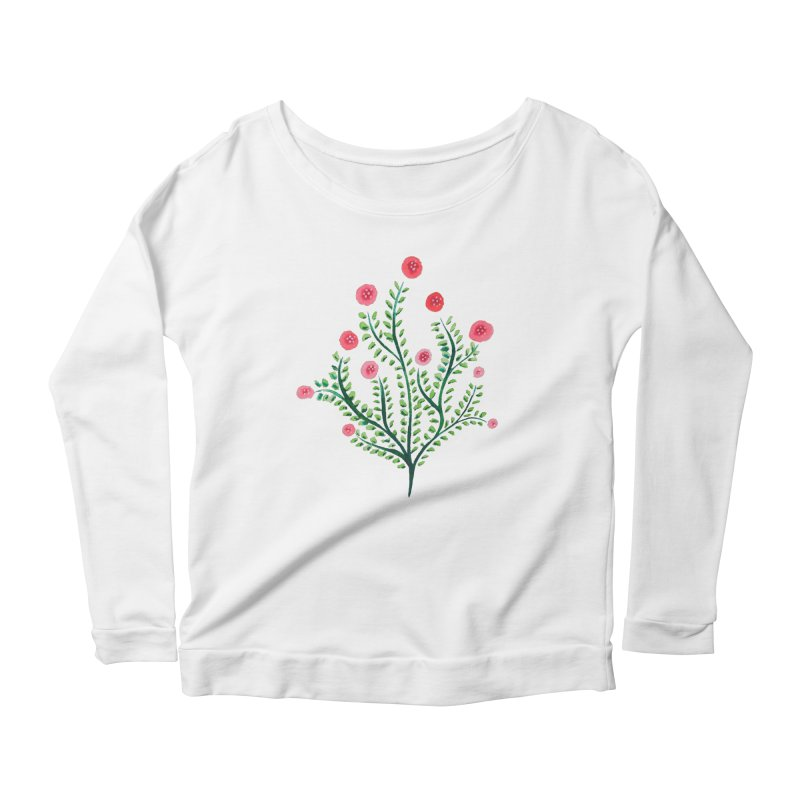 Spring Flower Plant Watercolor In Pink And Green Women's Scoop Neck Longsleeve T-Shirt by Boriana's Artist Shop