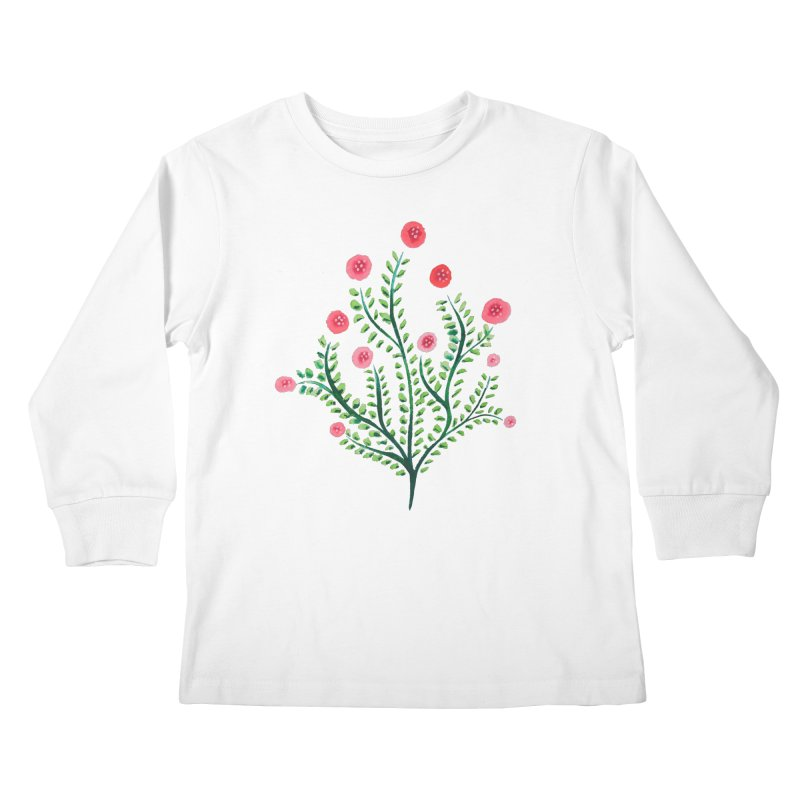 Spring Flower Plant Watercolor In Pink And Green Kids Longsleeve T-Shirt by Boriana's Artist Shop