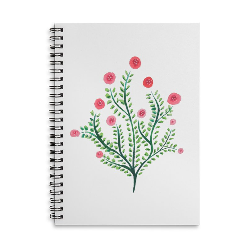 Spring Flower Plant Watercolor In Pink And Green Accessories Lined Spiral Notebook by Boriana's Artist Shop