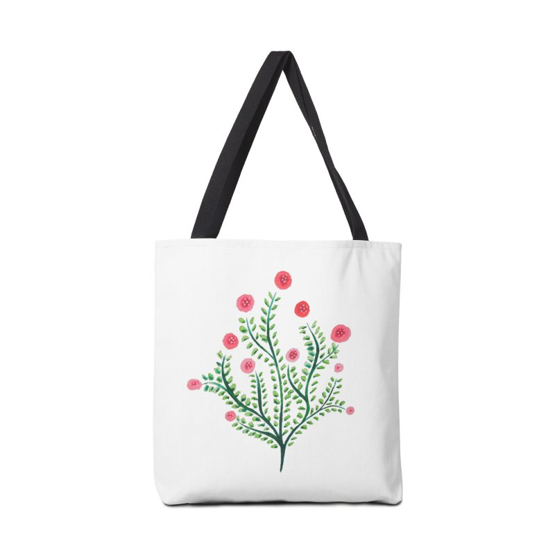 Spring Flower Plant Watercolor In Pink And Green Accessories Tote Bag Bag by Boriana's Artist Shop