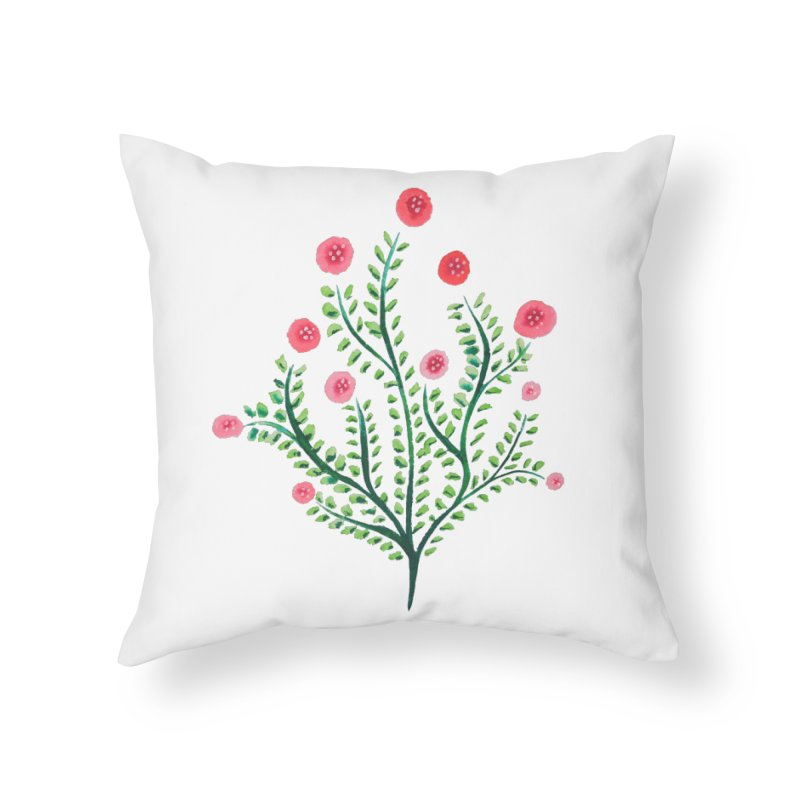 Spring Flower Plant Watercolor In Pink And Green Home Throw Pillow by Boriana's Artist Shop