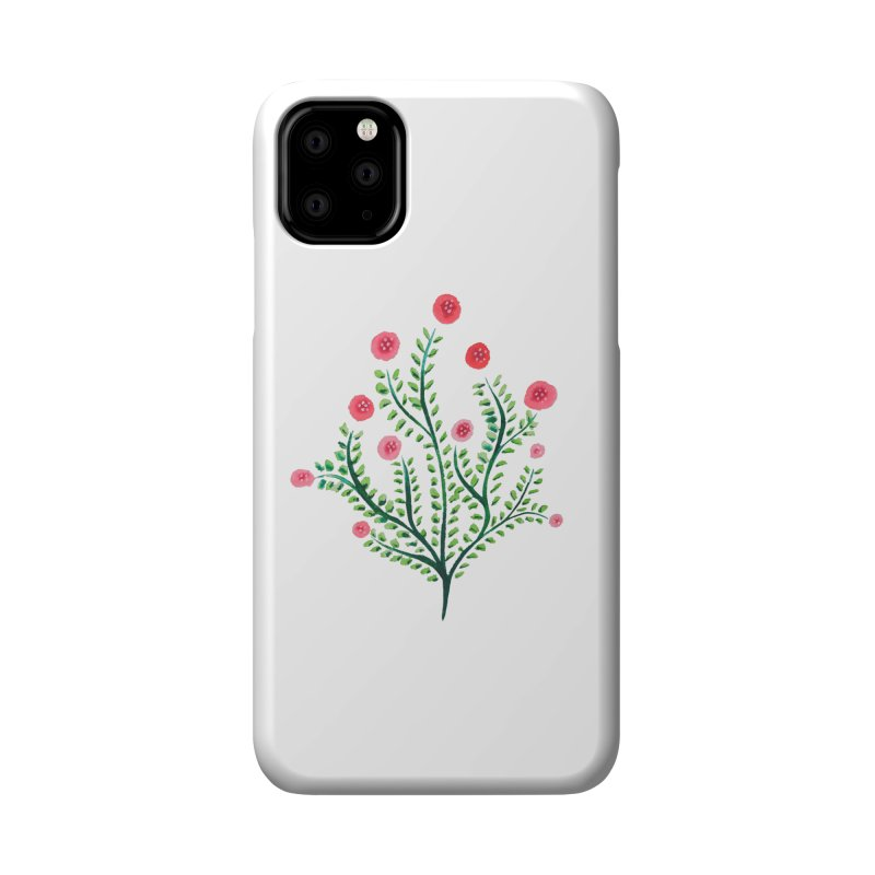 Spring Flower Plant Watercolor In Pink And Green Accessories Phone Case by Boriana's Artist Shop