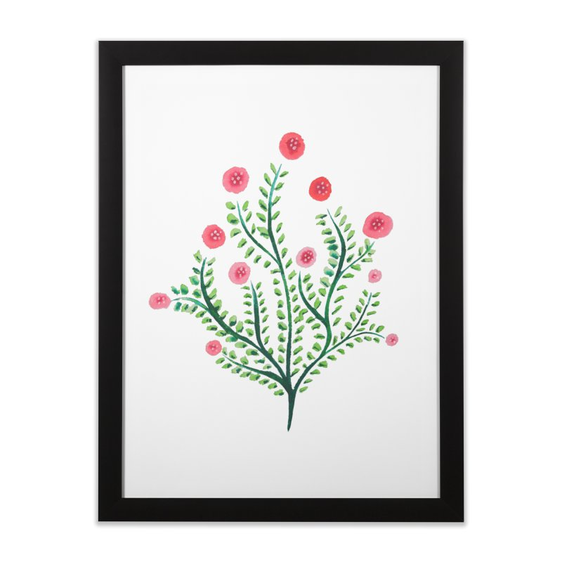 Spring Flower Plant Watercolor In Pink And Green Home Framed Fine Art Print by Boriana's Artist Shop