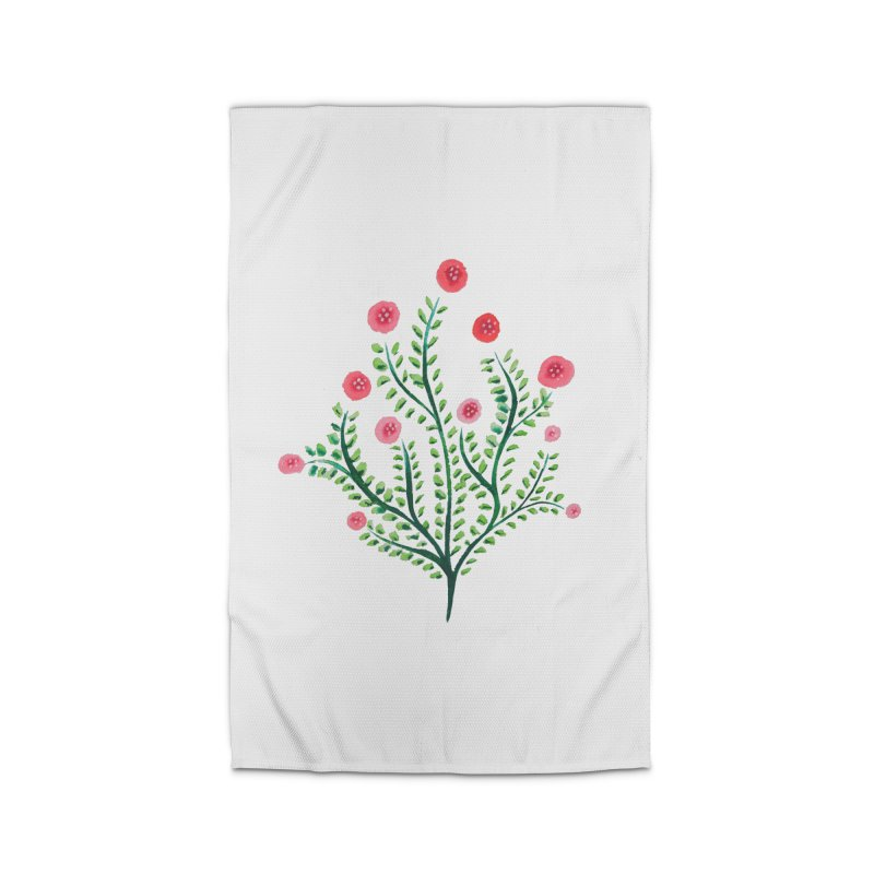 Spring Flower Plant Watercolor In Pink And Green Home Rug by Boriana's Artist Shop