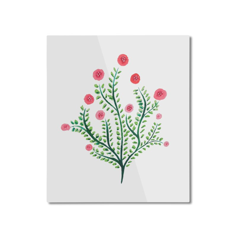 Spring Flower Plant Watercolor In Pink And Green Home Mounted Aluminum Print by Boriana's Artist Shop