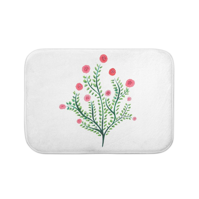 Spring Flower Plant Watercolor In Pink And Green Home Bath Mat by Boriana's Artist Shop