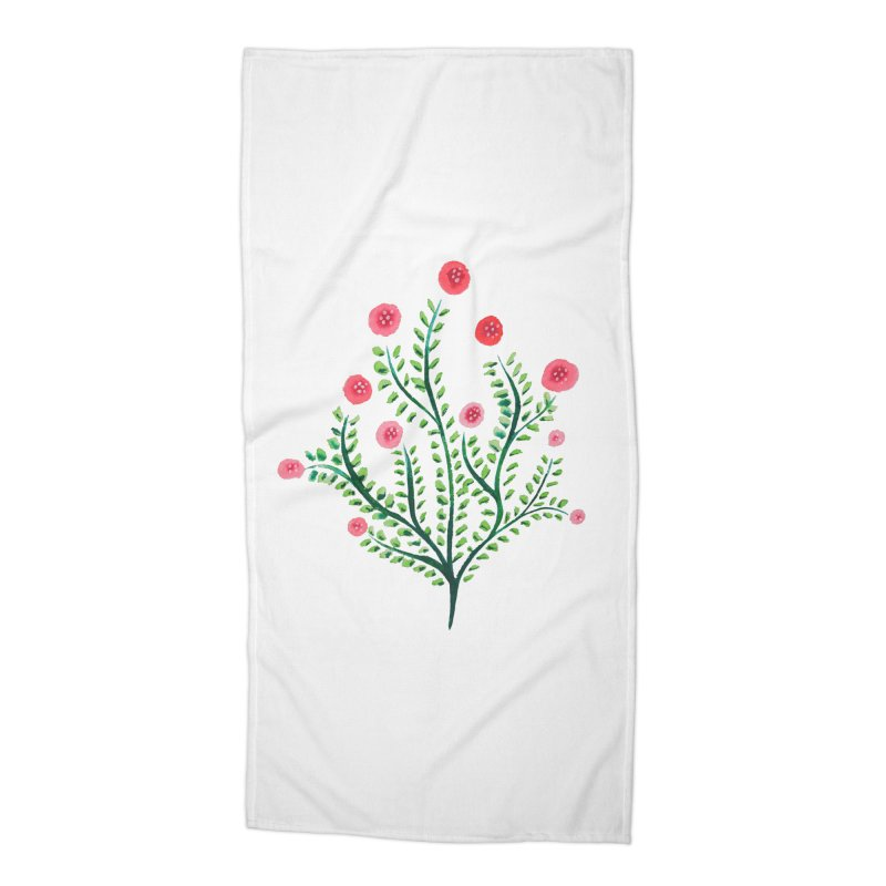 Spring Flower Plant Watercolor In Pink And Green Accessories Beach Towel by Boriana's Artist Shop