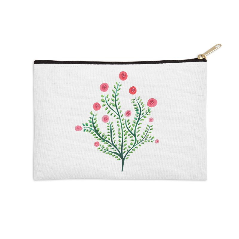 Spring Flower Plant Watercolor In Pink And Green Accessories Zip Pouch by Boriana's Artist Shop