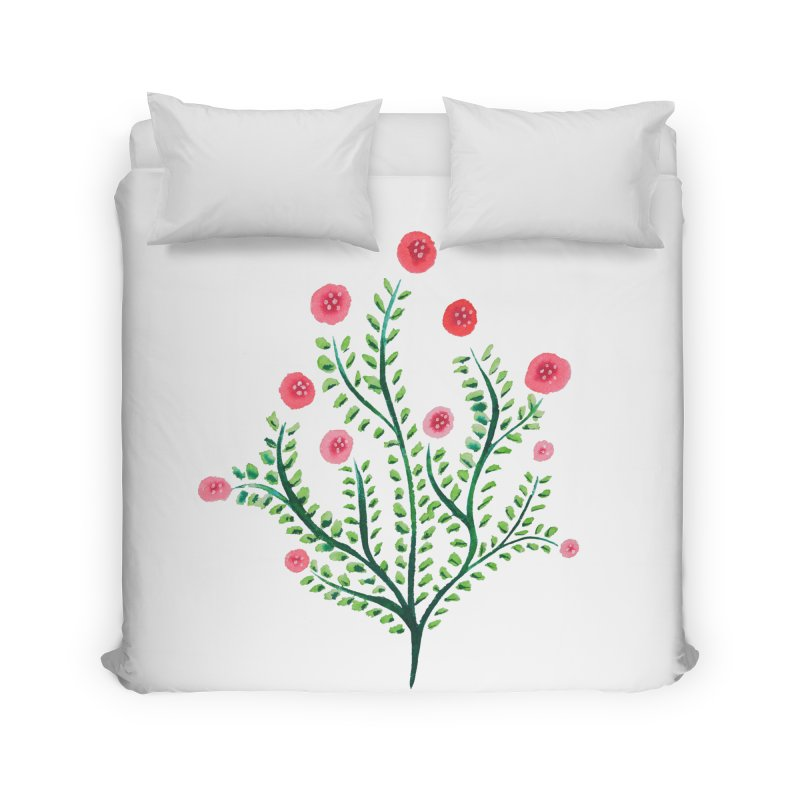Spring Flower Plant Watercolor In Pink And Green Home Duvet by Boriana's Artist Shop