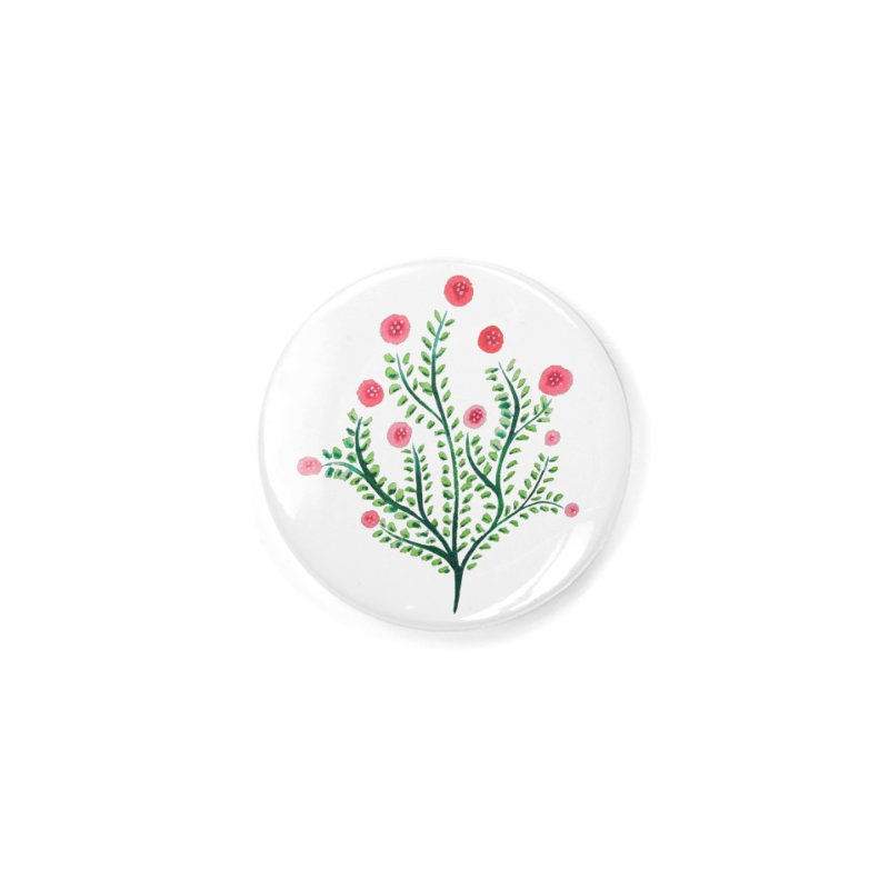 Spring Flower Plant Watercolor In Pink And Green Accessories Button by Boriana's Artist Shop
