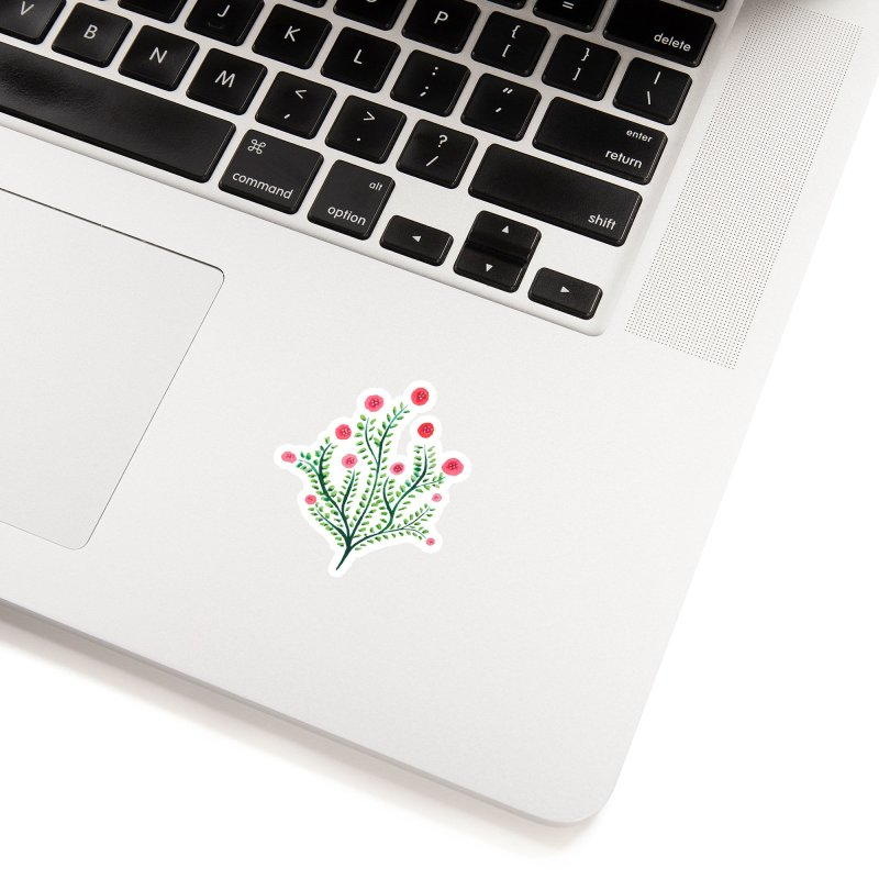 Spring Flower Plant Watercolor In Pink And Green Accessories Sticker by Boriana's Artist Shop