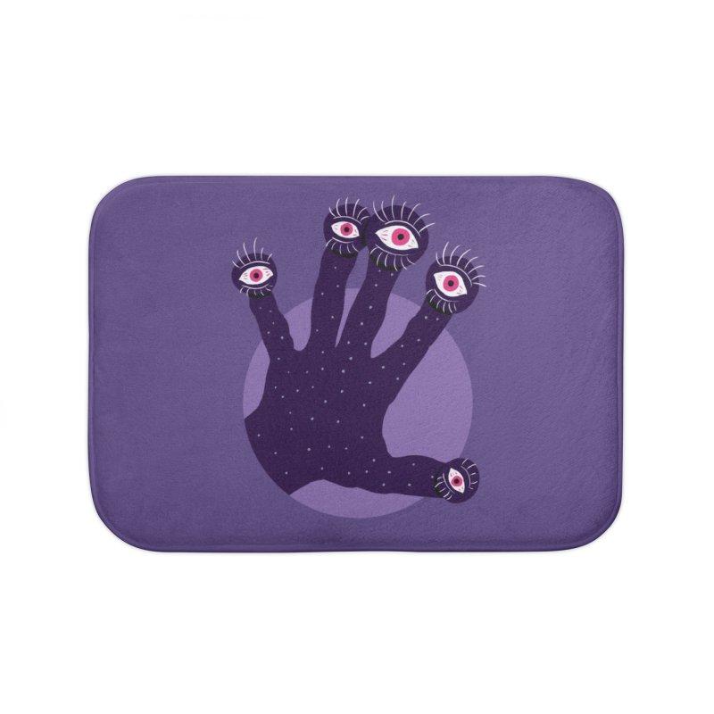 Weird Hand With Watching Eyes Home Bath Mat by Boriana's Artist Shop