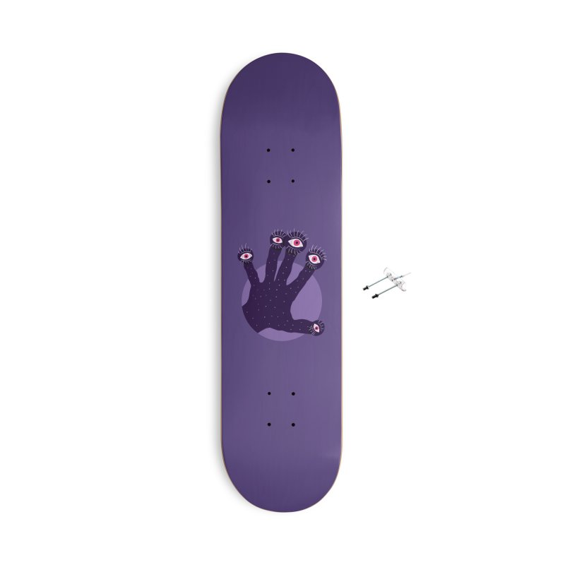Weird Hand With Watching Eyes Accessories With Hanging Hardware Skateboard by Boriana's Artist Shop