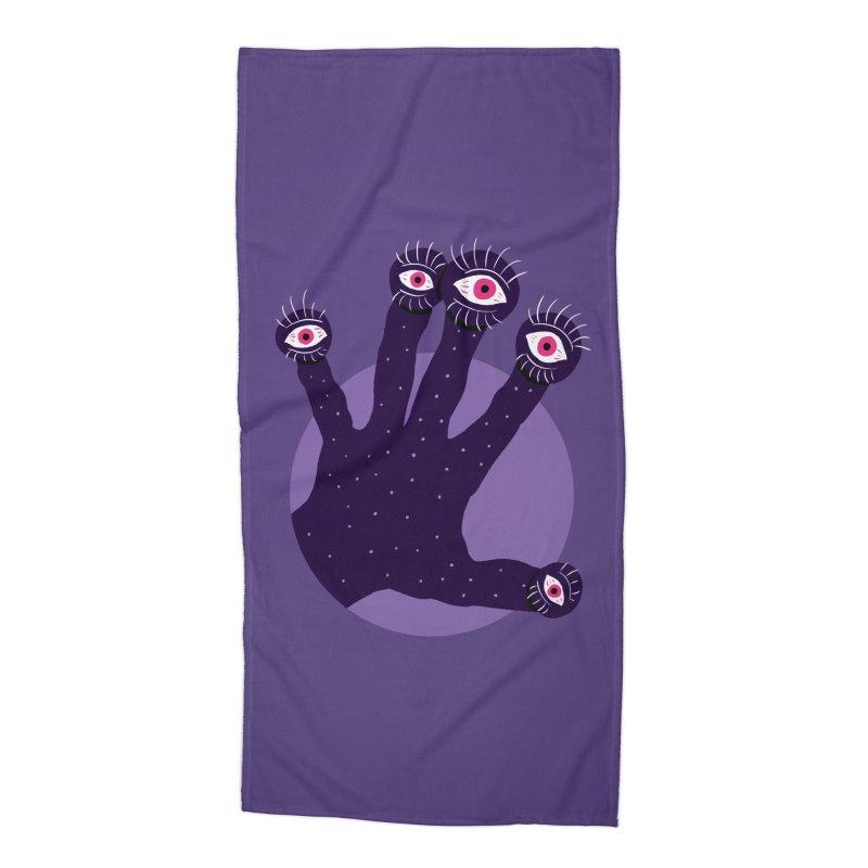 Weird Hand With Watching Eyes Accessories Beach Towel by Boriana's Artist Shop